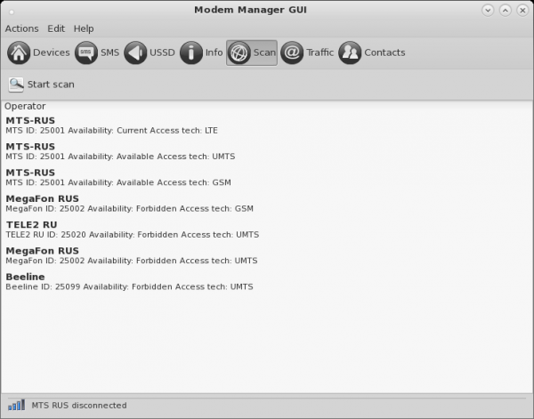 Modem Manager GUI Scan Window
