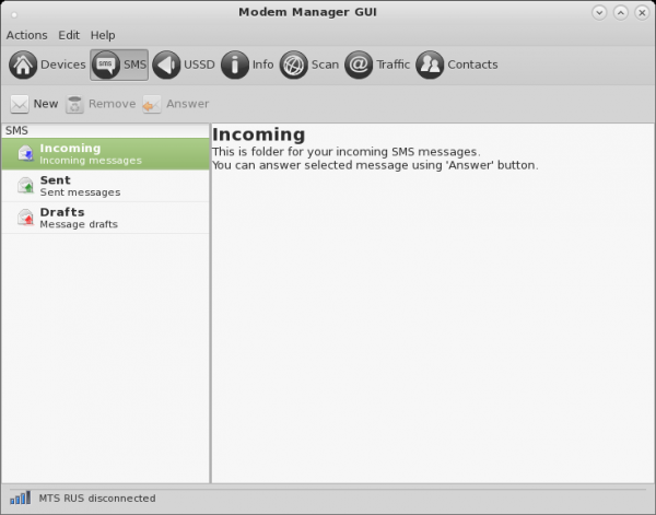 Modem Manager GUI Sms Window